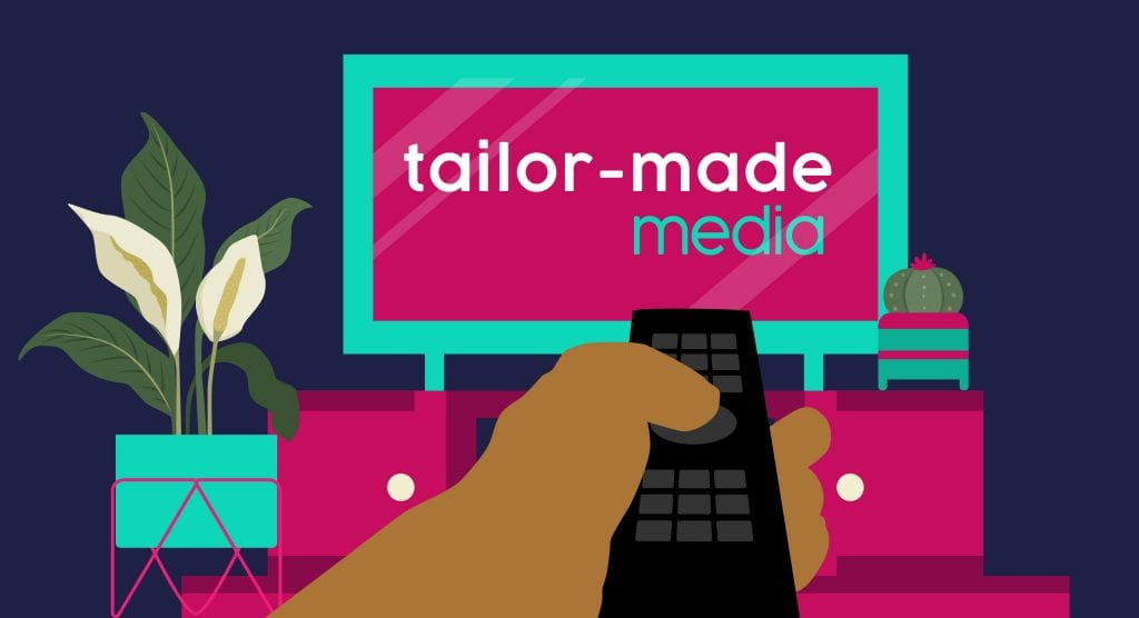 The Secret To The Perfect Video Ad - Image Of Television With Tailor-Made Media Logo